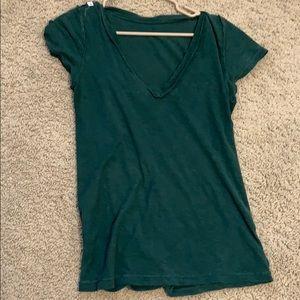 JCrew green V-neck shirt